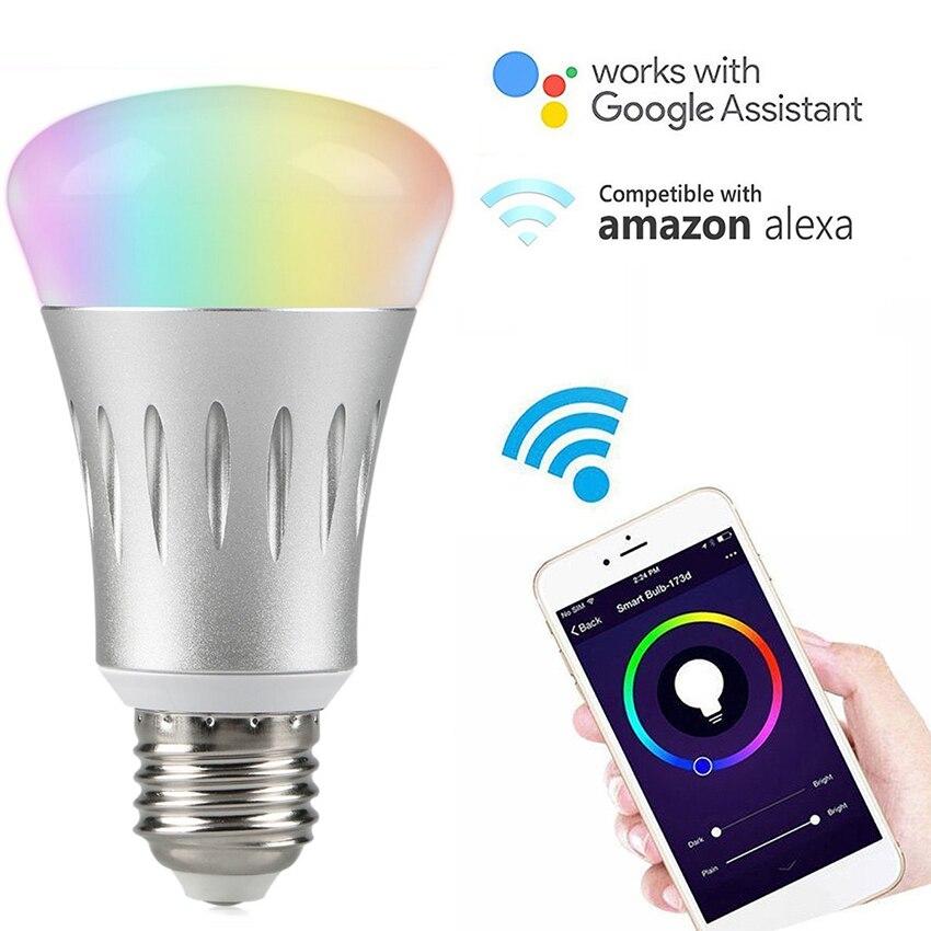 Smart WiFi Glühbirne 7 Watt E27/B22/E14 RGBW Dimmbar Drahtlose WiFi Fernbedienung Birnen-lampe Licht für Amazon Echo Alexa