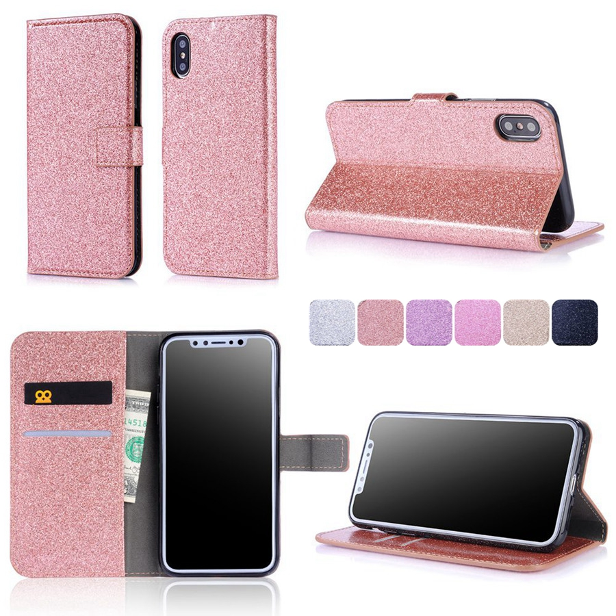 Misolocat for Apple iPhone X Flip Case Capa for iPhone 5S SE 6 6S 7 Plus Stand Cover Bling Wallet Funda PU Leather Coque