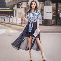 Dabuwawa Women's Multi layer Chiffon Swing Skirts New Navy Blue Fashion Versatile short Beach Party Mesh Skirts #D18BQK008