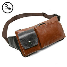 Mens Bag Men's Vintage Leather Travel  Riding Motorcycle Shoulder Messenger Sling Travel Chest Bag