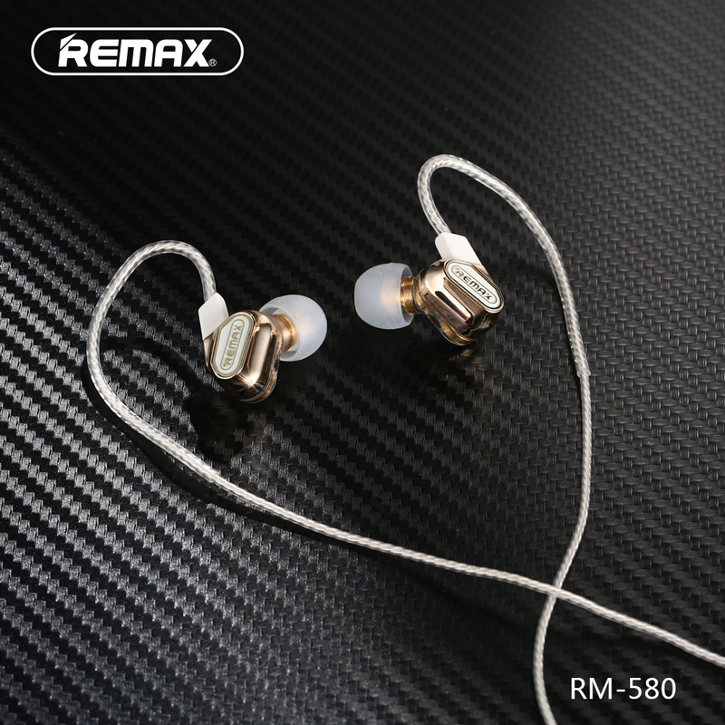 Remax RM-580 High Quality Wire Control Dual Active-coil Earphones Stereo Music Headsets In-ear Style High-definition Microphone sur s525 dynamic stereo music in ear earphones drive by wire