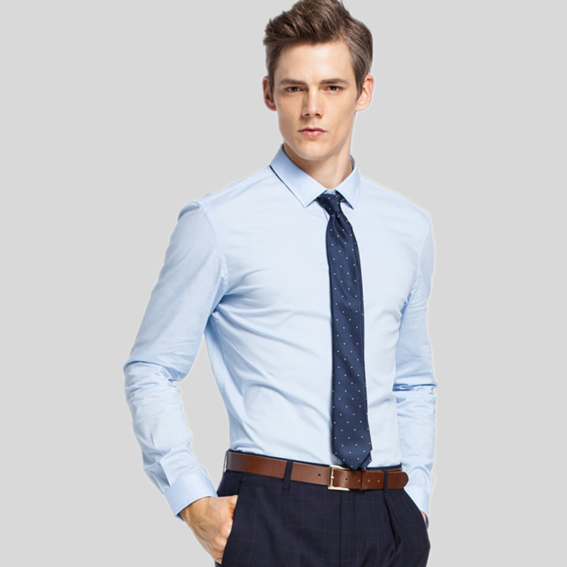 1a69b6a60c3 High quality business shirt Slim Men long-sleeved shirt solid color shirt  simple stylish custom made men s business shirt
