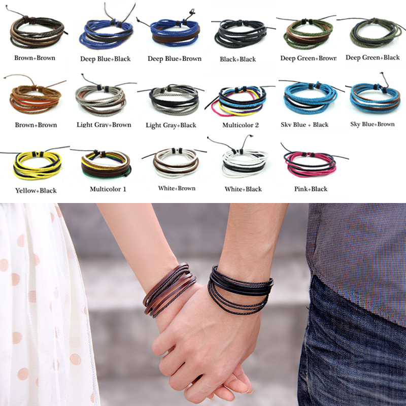 Adjustable Punk Men Synthetic Leather and Hemp Rope Wrap Bracelet Cuff Jewelry Bangles, pulseiras masculina(10pcs just need 4.2$)