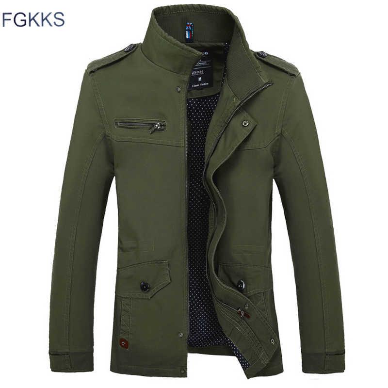 Мужская повседневная куртка FGKKS, зеленая армейская однотонная тонкая куртка, жакет для мужчин, высокого качества, на осень 2019
