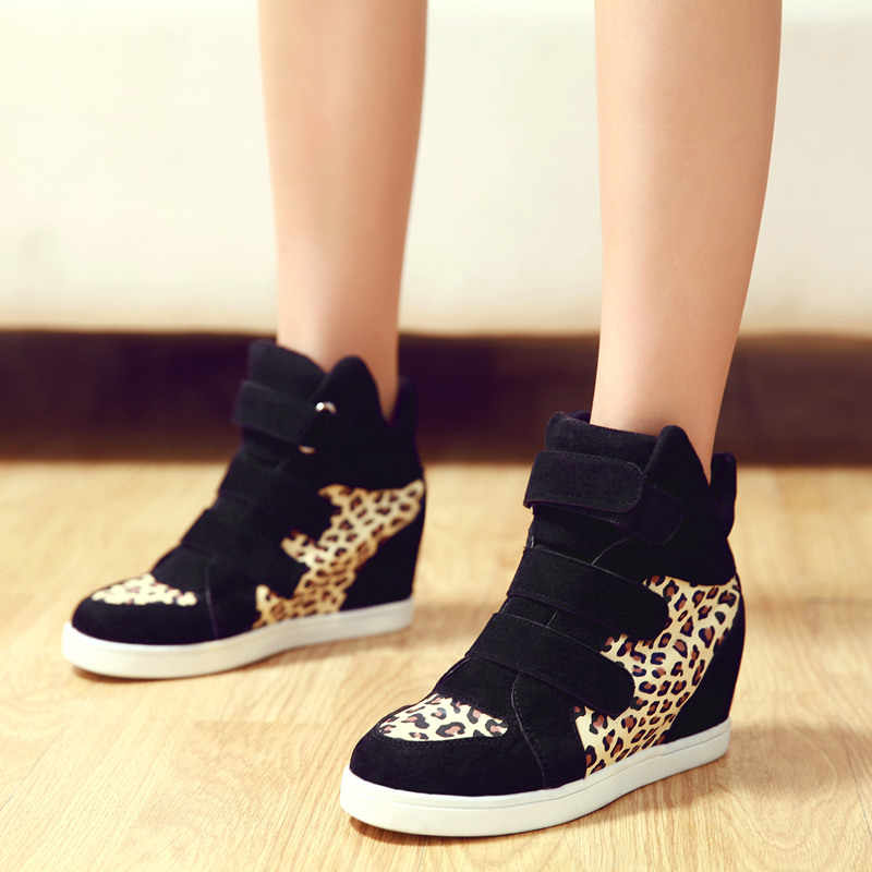 COOTELILI Brand Autumn Women Casual Shoes Leopard Suede Ankle Boots Heels Platform Wedge Height Increasing Sneakers Women