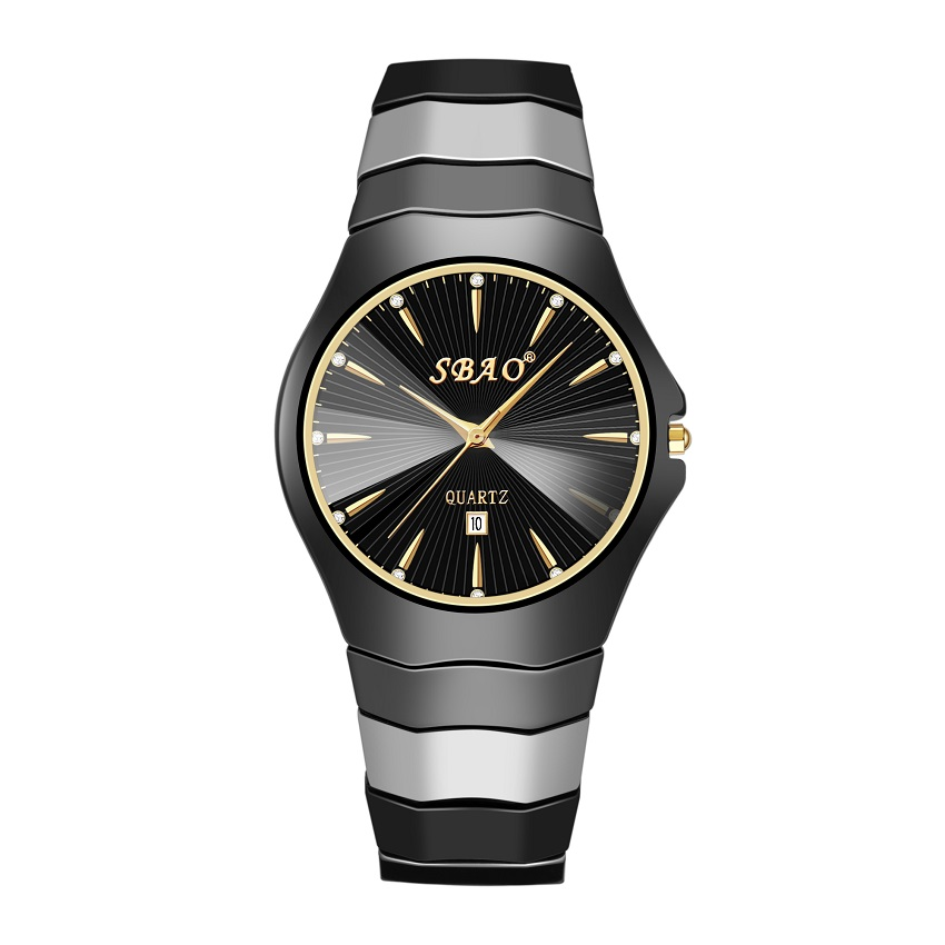 SBAO Top Brand Ceramic Male Watch Quartz Men Watches Business Dress Watches Fashion Simple Dial Clock