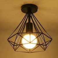 Moderne creux noir peinture fer cage plafonnier industriel vent rétro minimaliste loft pyramide couloir LED E27 ampoule éclairage