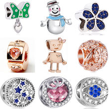 Hot Selling Small Statement Moon Robot Snowman Stars Crystal Beads Fit Pandora Charms Bracelets for Women Holiday DIY Berloques(China)