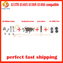 10sets/lot for macbook air rubber feet A1370 A1369 A1466 A1465 bottom screws keyboard screws set with screw driver