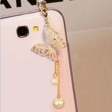 Anti-Dust-Plug Earphone Xiaomi Samsung All-3.5mm Pendant for 6s Pearl And Butterfly Exquisite