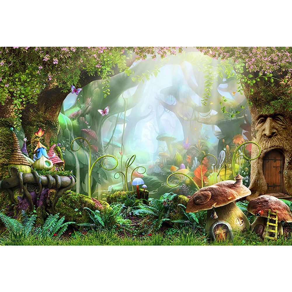 Fairy Tale Wonderland Enchanted Forest Background Mushrooms Old Trees Butterflies Baby Girl Birthday Party Photo Booth Backdrop купить