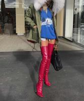 Bota feminina Доры красный из лакированной кожи облегающие каблук непромокаемые сапоги промежность сексуальные ботфорты с острым носком длинные