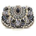 Hot Fashion Women's Beaded Cltuch Chain Evening Hand Bag Design Bridal Diamond Clutches Purse Mini Handmade Purse bolso XA52H
