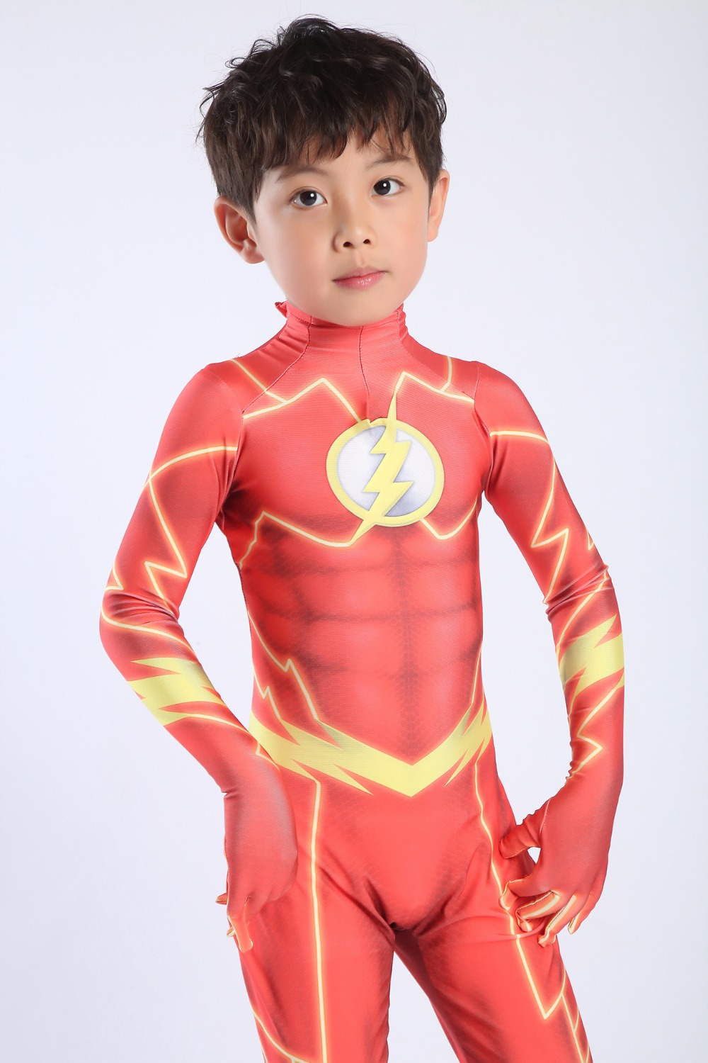 Kids Magical Fancy Flash Man cosplay costume zentai suit Lycra Spandex jumpsuit body suit for Halloween costumes free shipping