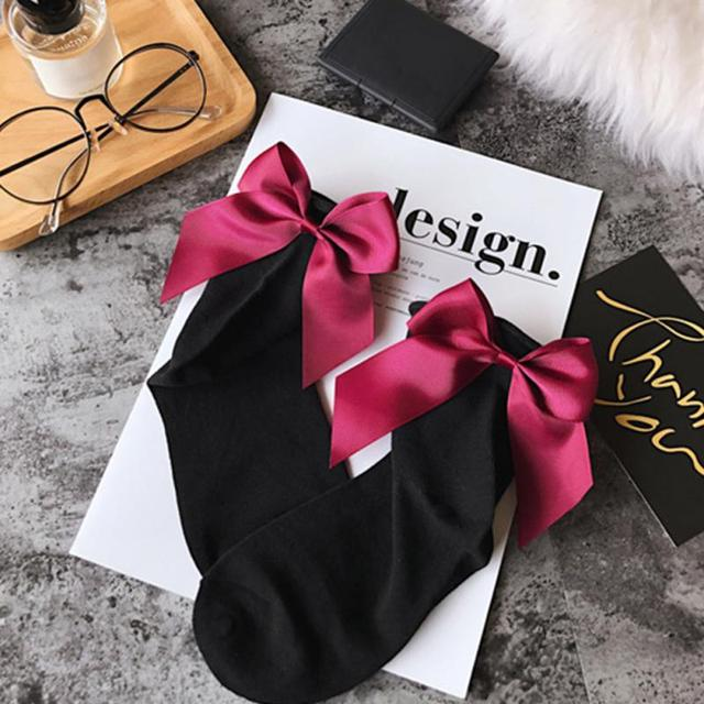 2019 Women Summer Funny Gold Silver Wire After The Heel Ribbon Big Bow Short Socks Wild Chaussette Herring Ankle Socks 34 Colors
