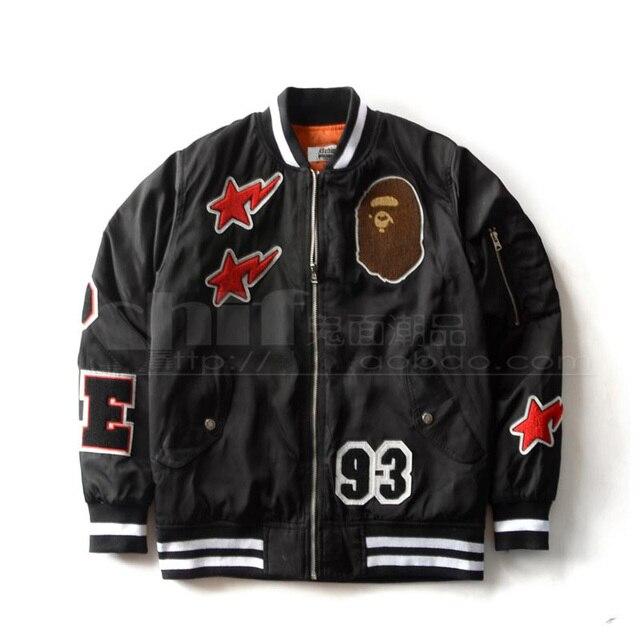 BAPE Jackets Streetwear Brand Cotton Baseball Jacket Badge Cartoon Quilted  Wadded Outerwear Men Women Lovers Flight Zipper Coat 2bfc7e698