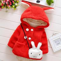 حار بيع المعاطف الشتوية الطفلات أطفال جاكيتات أزياء أرنب مقنعين الأطفال في سترة دافئة سماكة القطن مبطن معاطف