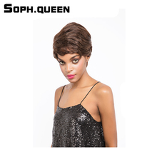 Soph queen Hair Unprocessed Remy  #2 Color Human Hair Wig Brazilian Straight Hair WigHair Wig 4Inch