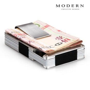 Modern-Merek Udara Kartu Aluminium Anti Pencurian Penyimpan Kartu Nama Uang Clamp Elastis Pria Dompet Mini Dompet Organizer RFID Blocking