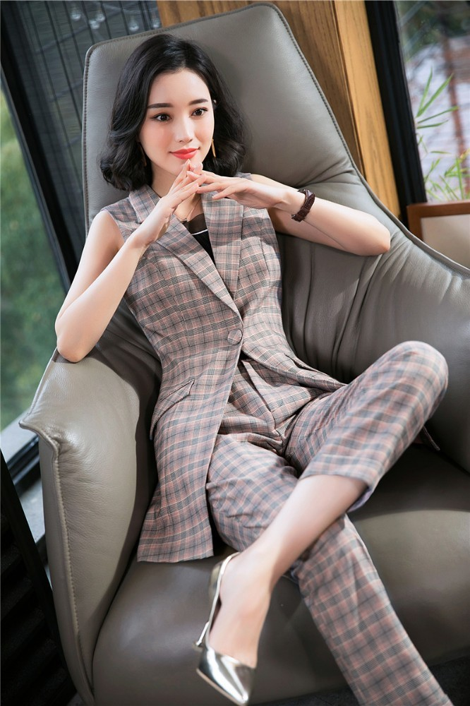 Novelty Plaid Summer Formal Women Business Suits With Vest And Pants OL Styles Waistcoat Pantsuits Blazers Trousers Sets