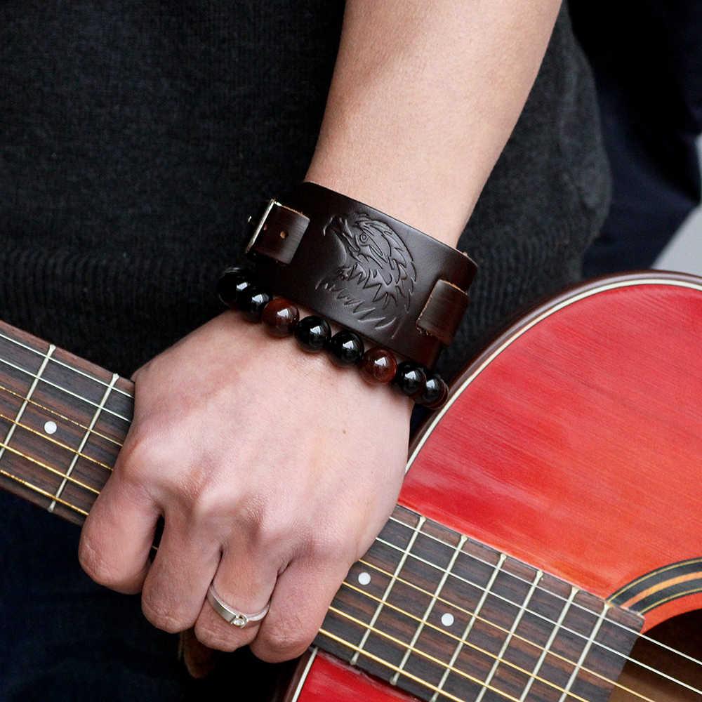 UBEAUTY w stylu Vintage oryginalne Punk skórzane szeroka bransoletka Rock bransoletki ze skóry wołowej przypadkowi męskie czarne i brązowe biżuteria akcesoria
