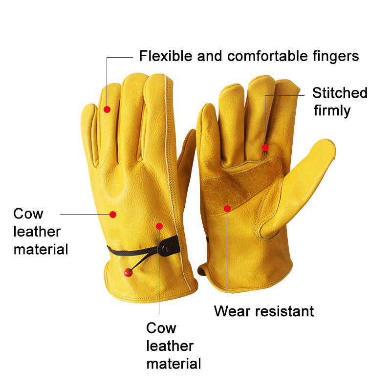 Newly 1 Pair Work Gloves Cowhide Leather Wear-resisting Protective Men Working Welding Sports  FMS19