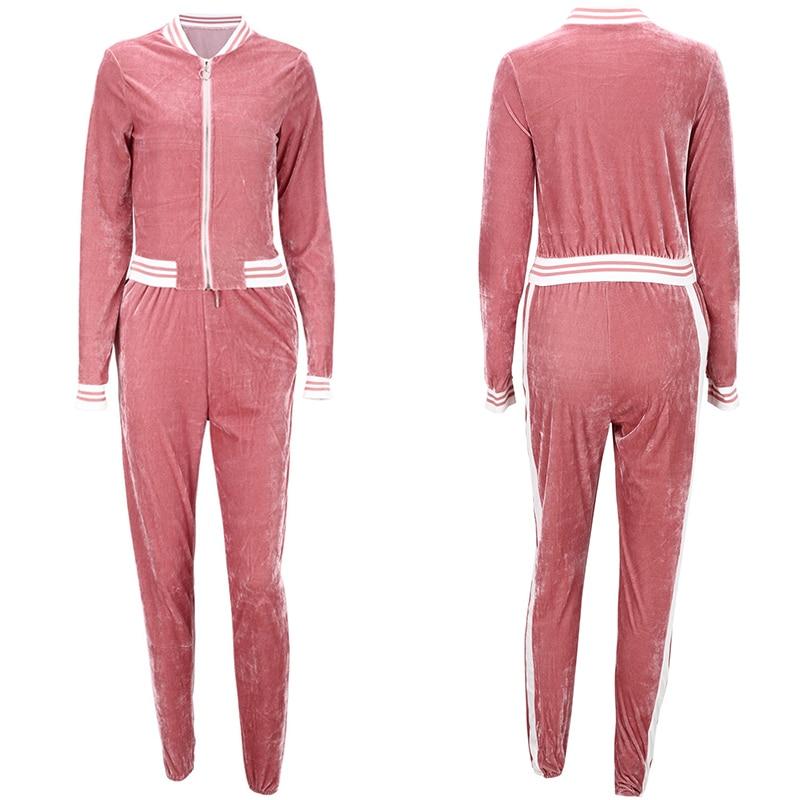 2 TWO PIECE SET Casual Tracksuit Velour Jacket Zipper For Women Pants Track Suit Long Sleeve Sweatsuits Large Plus Size Winter 4