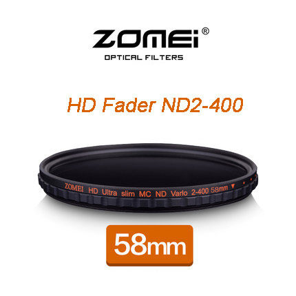 ZOMEI 58MM HD MC Adjustable Variable ND2-400 Filter Neutral Density Shott Glass For Nikon D5300 D5200 D5100 Canon 600D DSLR светофильтр hoya variable density 58mm 80466