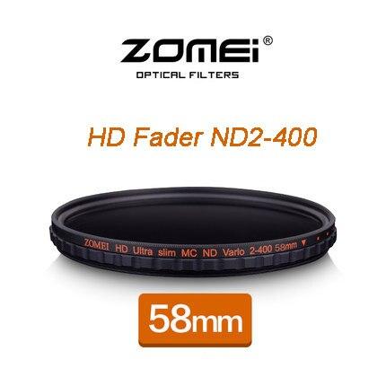 ZOMEI 58mm HD MC Réglable Variable ND2-400 Filtre Densité Neutre de Chott Verre Pour Nikon D5300 D5200 D5100 Canon 600D DSLR