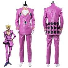 ジョジョの奇妙な冒険コスプレ黄金風 Giorno ジョヴァコスプレ衣装ピンクスーツブーツハロウィンカーニバル衣装