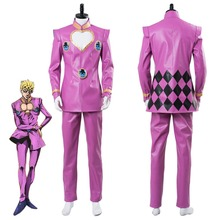 JoJos Bizarre Adventure Cosplay Golden Wind Giorno Giovanna Cosplay Costume Pink Suit Boots Halloween Carnival Costumes