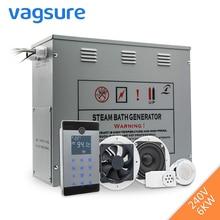 Датчик температуры для душа 240 В 6 кВт, генератор пара для сауны, спа, сенсорный ЖК дисплей, Bluetooth, паровой контроллер, выход паровой форсунки