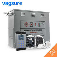 240V 6KW Shower Temperature Sensor Display Steam Sauna Generator Spa LCD Touch Bluetooth Steam Controller Steam Nozzle Outlet