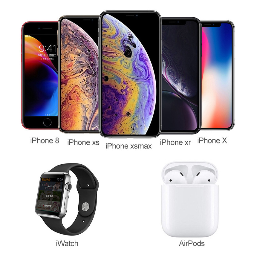 4IN1 Table Lamp USB Charging Station Fast QI Wireless Mobile Phone Charger For Apple Watch 234 Airpods Charger IPhone8 plus X XR in Wireless Chargers from Cellphones Telecommunications