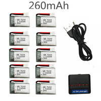 10pcs JJRC H8 Mini Original Battery 3.7V 260mAh Lipo Battery and 5in1 Charger for Eachine H8 JJRC H8 RC Quadcopter drone parts