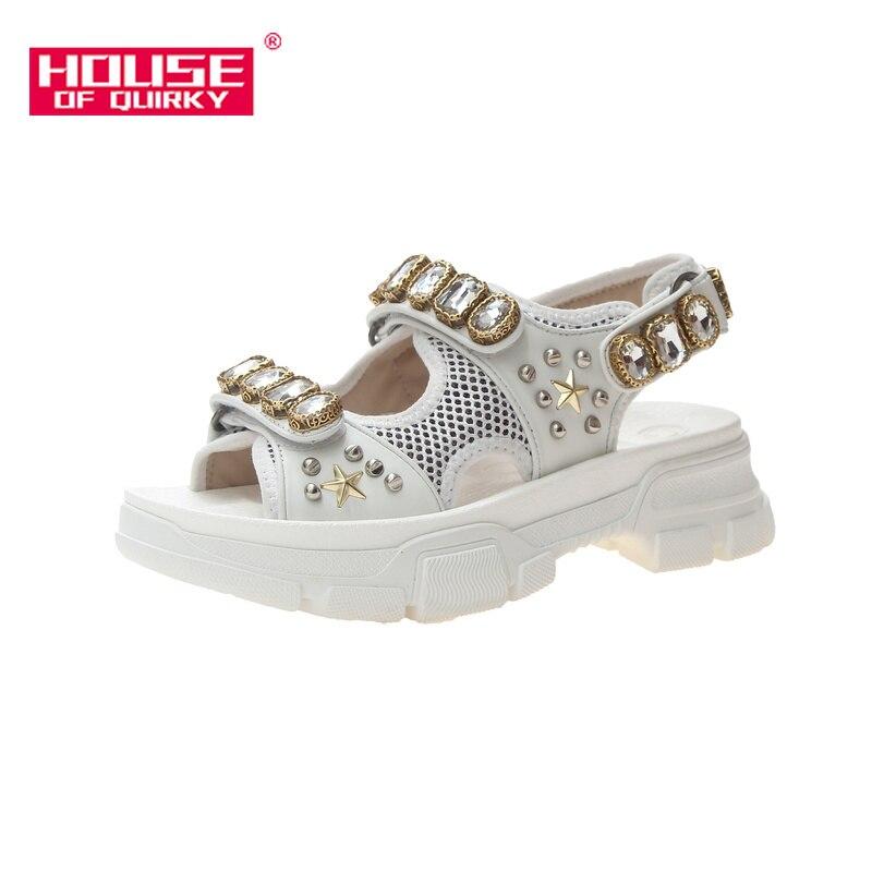 Femmes d'été mode strass fond épais sandales 2019 nouveau creux bout ouvert plat femmes chaussures en plein air maille chaussures décontractées