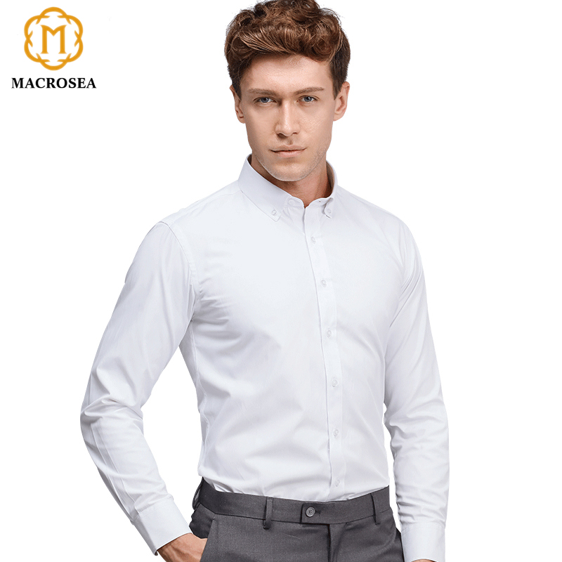 Macrosea white button collar men 39 s formal business dress for Mens high collar dress shirts