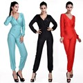 New 2015 Deep V-neck Jumpsuit Women Overall Sexy Fashion Waist Long Romper Long Sleeve Jumpsuit Pants Coveralls Plus Size 50