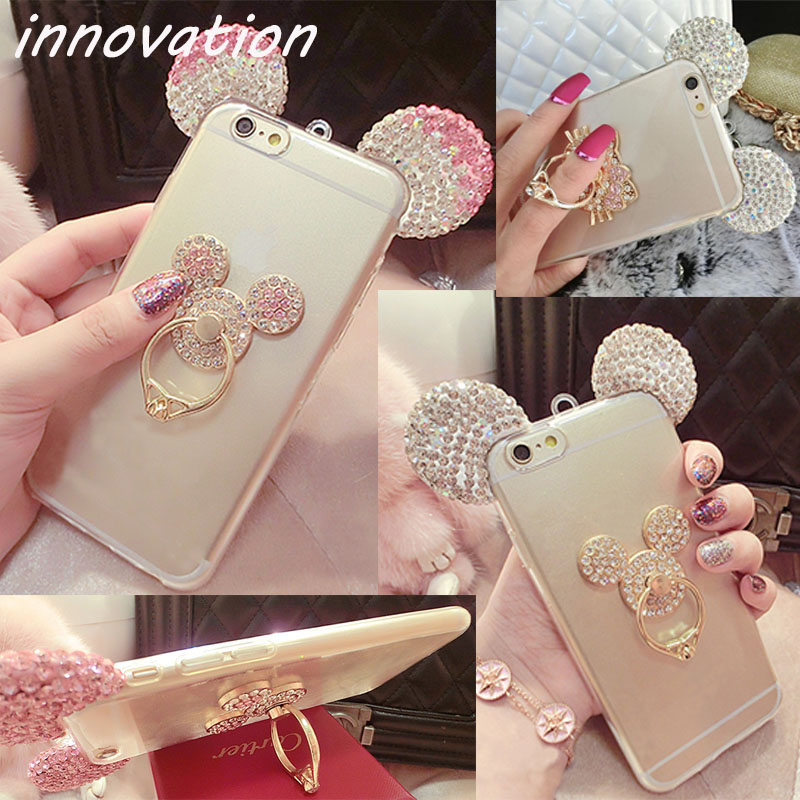 Case For <font><b>iphone</b></font> 8 7 5 <font><b>6</b></font> 6S Plus X XR XS Max Cover Diamond <font><b>Mickey</b></font> Ear Soft TPU <font><b>Coque</b></font> For Samsung Galaxy S7 Edge S8 S9 Ring Holder image