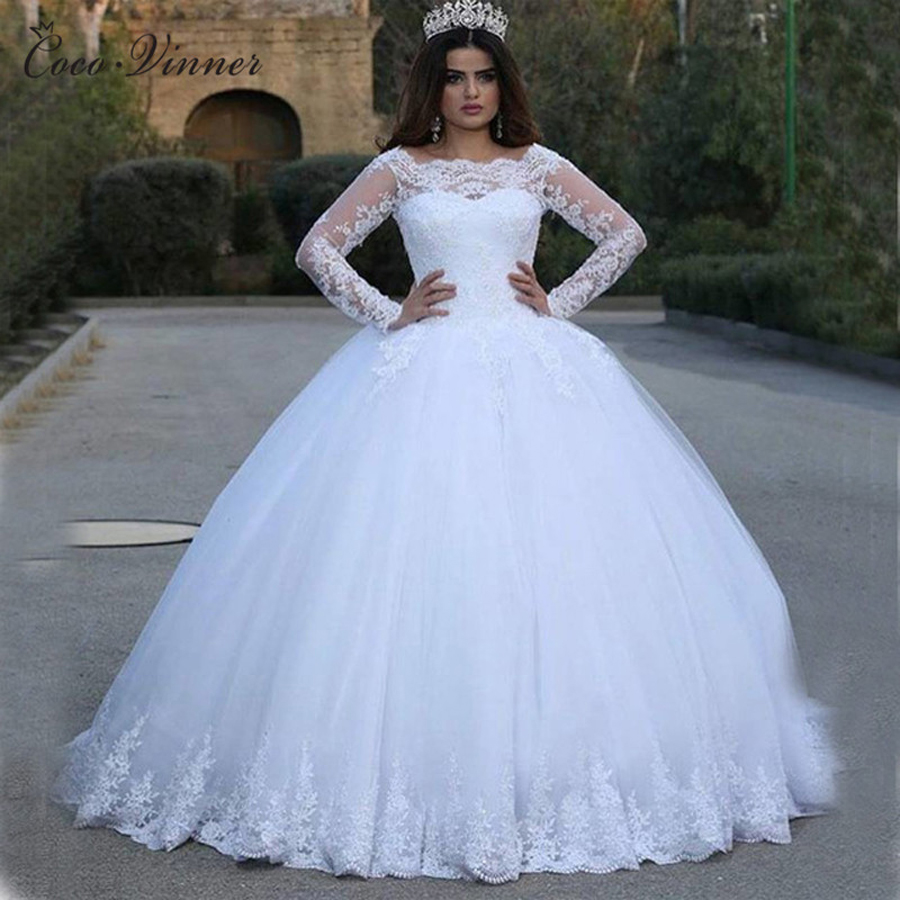 Sheer Sleeves Lace Ball Gown Wedding Dresses Arabic Princess Long Bridal Gowns