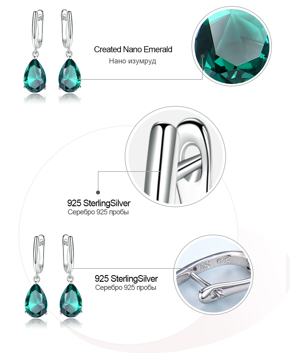 HTB1HbdnKNYaK1RjSZFnq6y80pXaC UMCHO Created Green Emerald Gemstone Clip Earrings for Women Solid 925 Sterling Silver Anniversary Wedding Party Gifts Jewelry