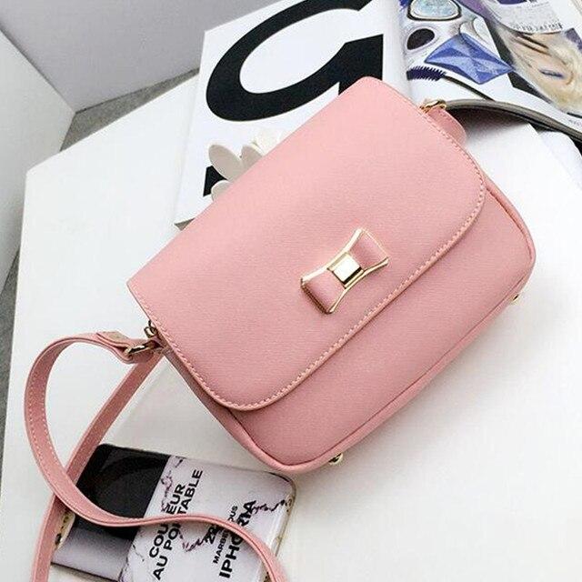 daf9b6f593e6 Women Bag Bow Handbag PU Leather Women's Shoulder Crossbody Bags girl bow  small Handbags Purse Bags Bolsos DL8885
