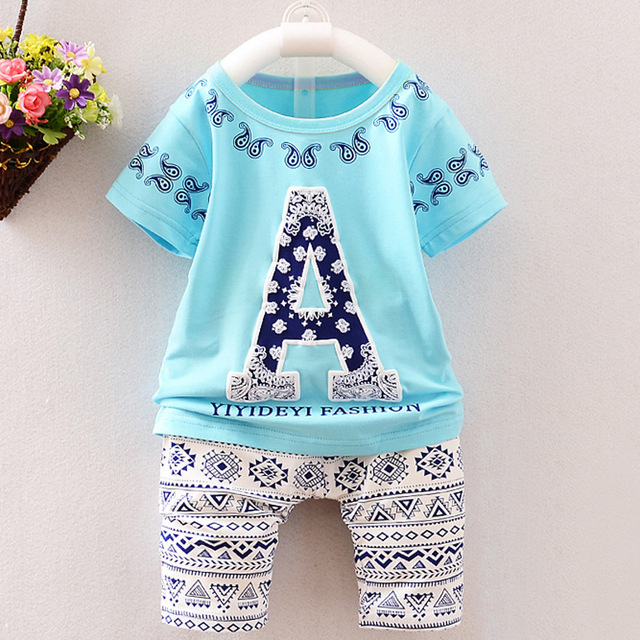 (2 pçs/set) Conjunto de Roupas de Marca Bebê curto set 6M-3Y Bebê Menino/Menina Roupas 100% Algodão impressa conjunto de roupa interior