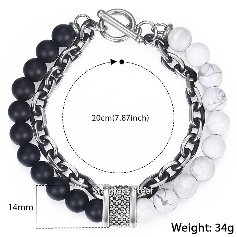 Trendsmax Natural Map Stone Men's Beaded Bracelet for women Stainless Steel Bracelets Male Jewelry Tiger eye 8 9 10 inch DB33