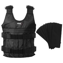 цены 20kg Max Black Adjustable Durable Loading Weighted Vest Thickening Workout Training Fitness Boxing Jacket Waistcoat
