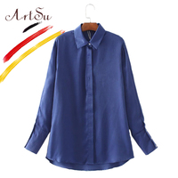 ArtSu Women Floral Embroidery Long Shirts Long Sleeve Blouses 2017 Vintage Loose Kimono Women S Shirt