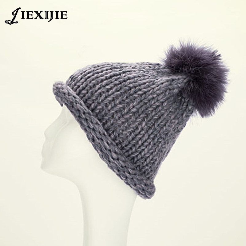 New autumn/winter flanging feather ball hand-made woven wool knitting hat cap 4pcs new for ball uff bes m18mg noc80b s04g