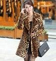 Горячая продажа Новых зимой Корейский искусственный мех пальто, Толстые теплые leopard норки траншеи пальто Сексуальная роскошный женский пальто, плюс размер S ~ 3XL
