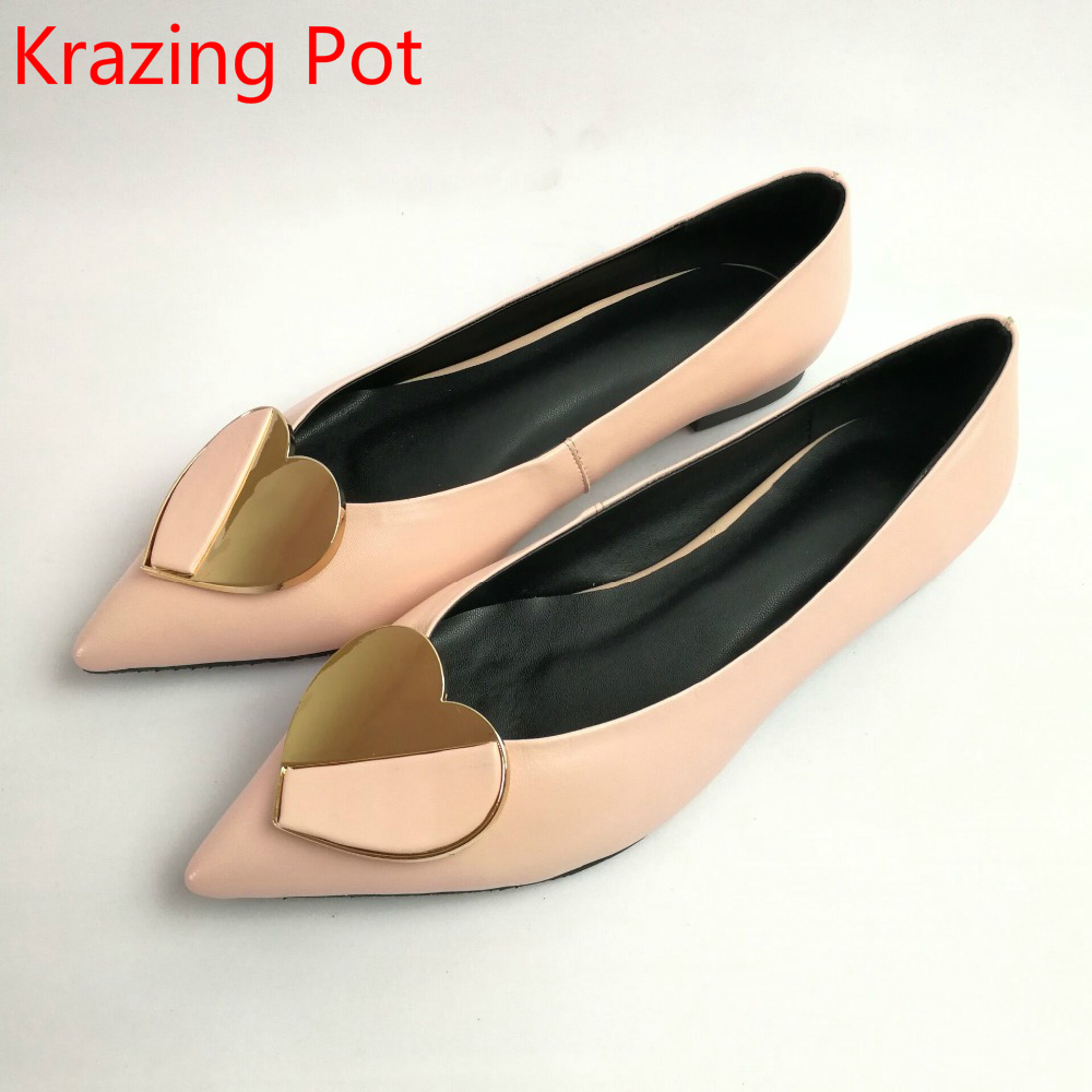 2017 Fashion Brand Shoes Genuine Leather Slip on Pointed Toe Preppy Style Love Metal Fasteners Low Heels Shallow Women Pumps L86 2017 shoes women med heels tassel slip on women pumps solid round toe high quality loafers preppy style lady casual shoes 17