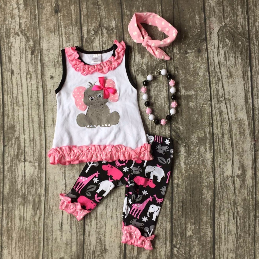 new summer baby girls outfits Elephant Giraffe print kids wear boutique capris cotton ruffles clothes with matching accessories 2016 summer baby child girls outfits ruffles shorts white striped watermelon boutique ruffles clothes kids matching headband set
